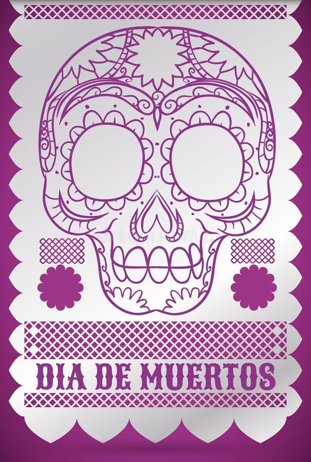Traditional Tissue Paper Decoration with Skull for 'Dia de Muertos', Vector Illustration vector illustration