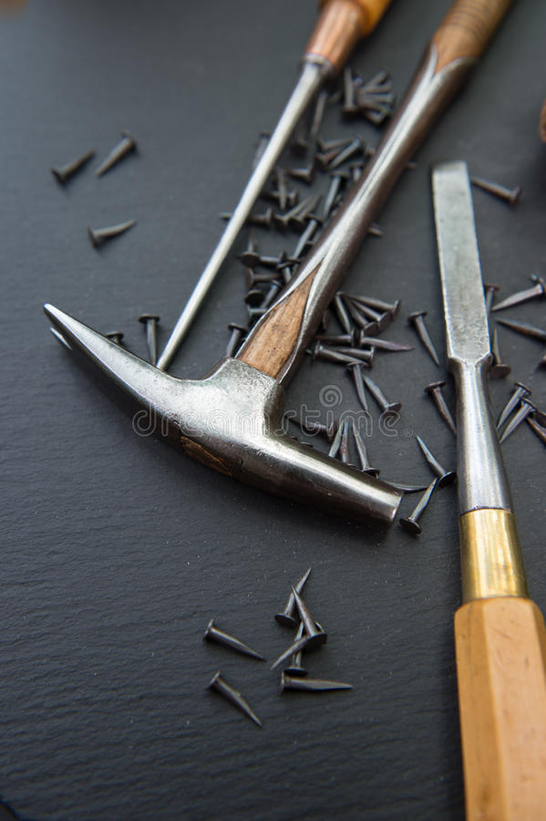 Traditional tools of upholsterer on a table royalty free stock photography