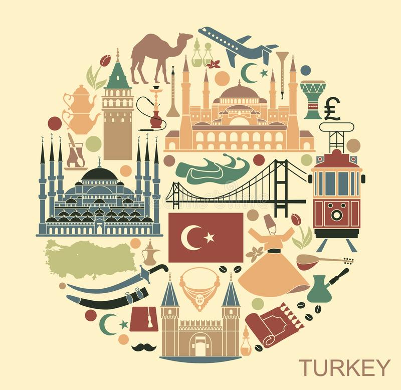 Traditional tourist symbols of Turkey in the form of cirle. Set of country Turkey culture and traditional symbols. Collection of icons mosque and tower, hookah royalty free illustration