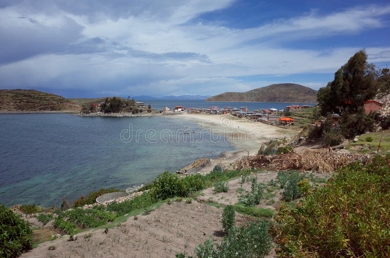 A traditional town on the Isla del Sol on Lake Titicaca. A traditional town on a beach of the Isla del Sol on Lake Titicaca in Bolivia stock photography