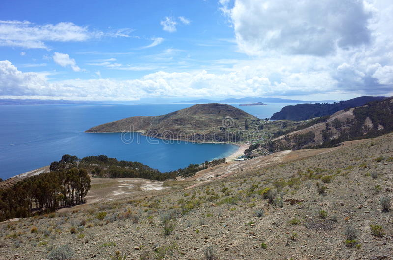 A traditional town on the Isla del Sol on Lake Titicaca. A traditional town on the beach of Isla del Sol on Lake Titicaca in Bolivia stock images