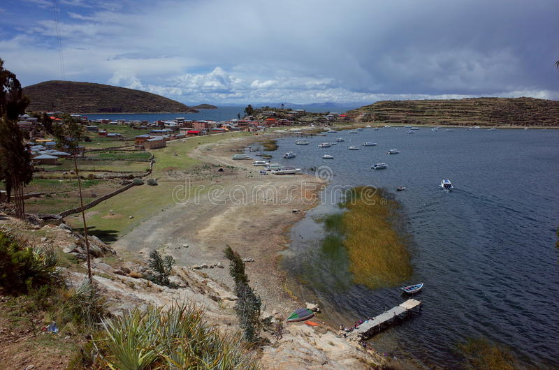 A traditional town on the Isla del Sol on Lake Titicaca. In Bolivia stock images