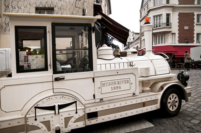 A traditional train in Montmartre in Paris stock images