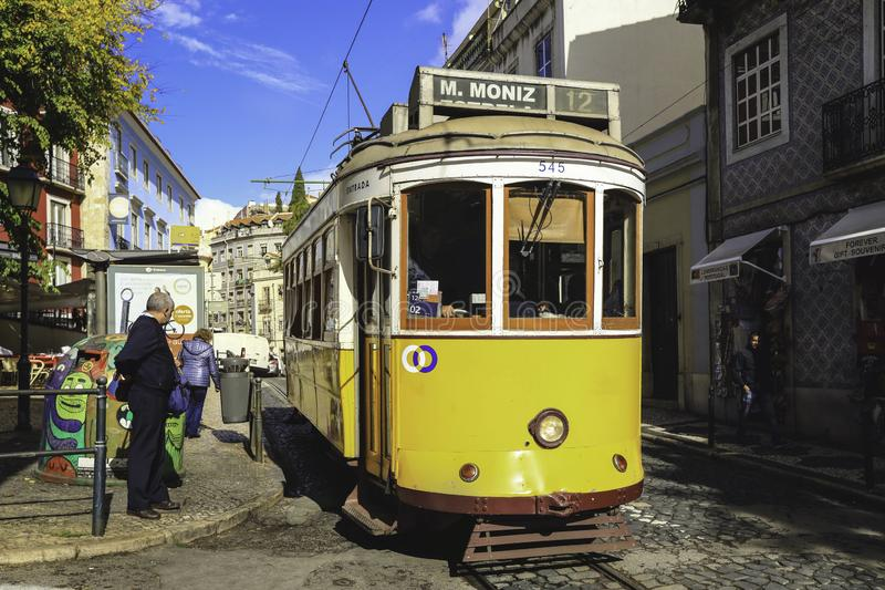 Traditional tram in the city centre of Lisbon royalty free stock images