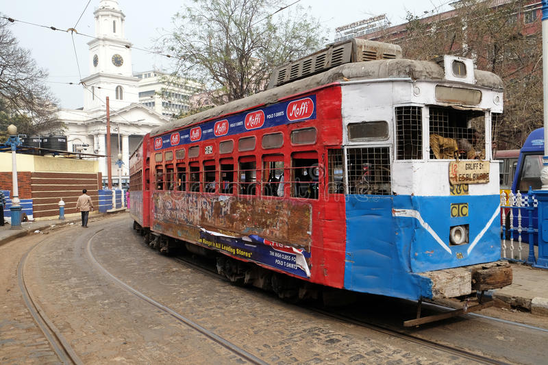 Traditional tram in Kolkata. Traditional tram downtown Kolkata. Kolkata is the only Indian city with a tram network, which is operated by the Calcutta Tramways stock photography