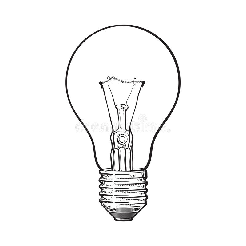 Set Of Hand Drawn Light Bulbs Symbol Of Ideas Stock: Traditional Transparent Tungsten Light Bulb, Side View