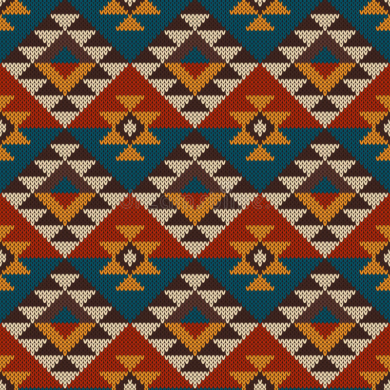 Traditional Tribal Aztec seamless pattern on the wool knitted te royalty free illustration