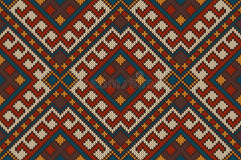 Traditional Tribal Aztec seamless pattern on the wool knitted texture vector illustration