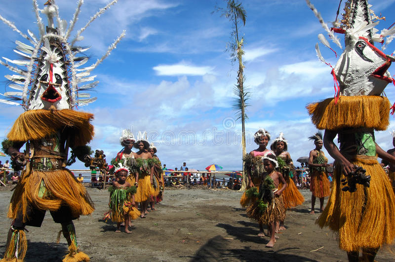 Traditional tribal dance at mask festival stock image