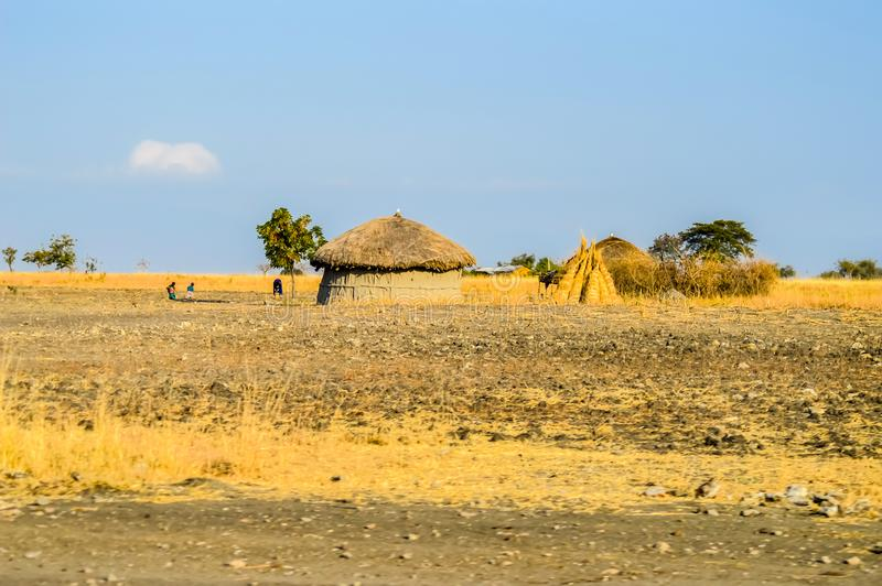 Traditional tribal hut of Kenya people royalty free stock image