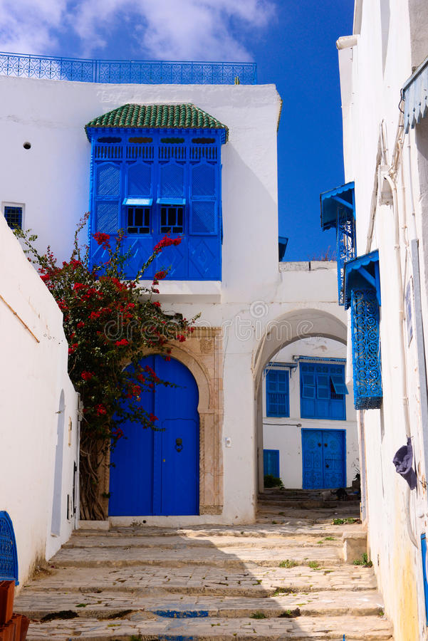 Download Arabic Alley, Traditional Tunisian Buildings, Blue Doors And Shutters - Sidi Bou Said Stock Image - Image of green, front: 98049475