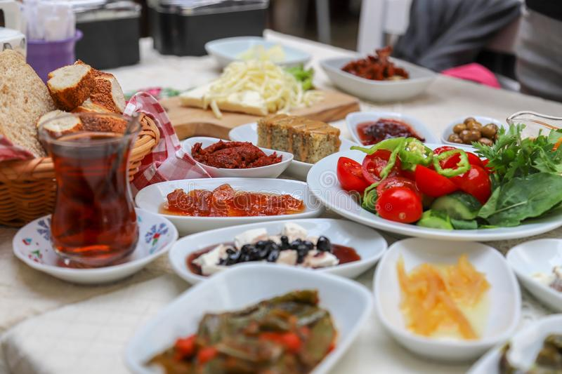 Traditional Turkish breakfast and breakfast table. , a meal eaten in the morning, the first of the day stock image