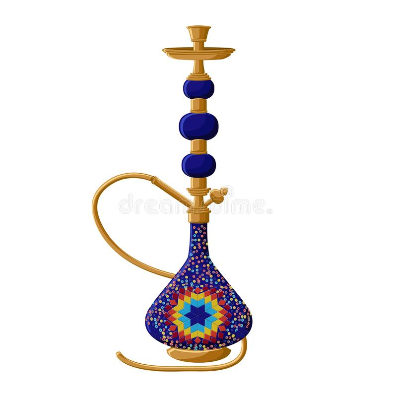 Traditional turkish ceramic blue hookah isolated on white background. vector illustration