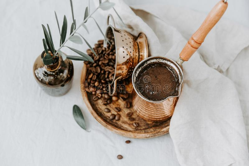 Traditional Turkish coffee in Cooper with decorations stock photos