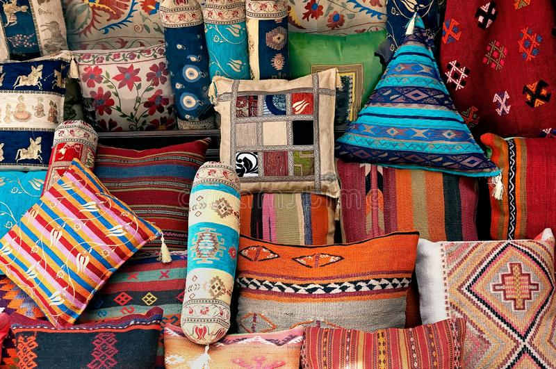 Traditional Turkish decorative pillows stock images