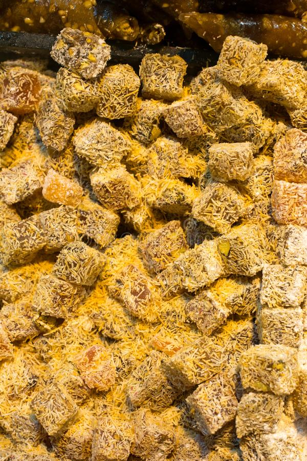Traditional turkish delight lokum candy. Load of traditional turkish delight lokum candy stock photo