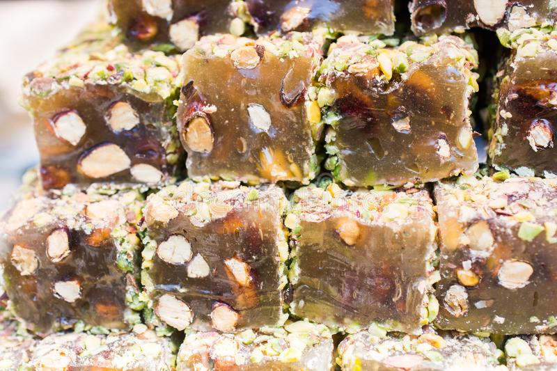 Traditional turkish delight lokum candy. Load of traditional turkish delight lokum candy stock photos