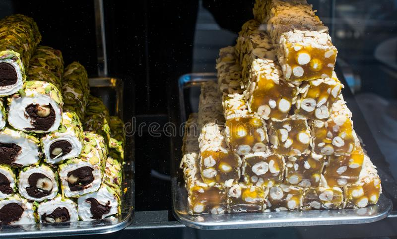 Traditional turkish delight lokum candy. Load of traditional turkish delight lokum candy royalty free stock images
