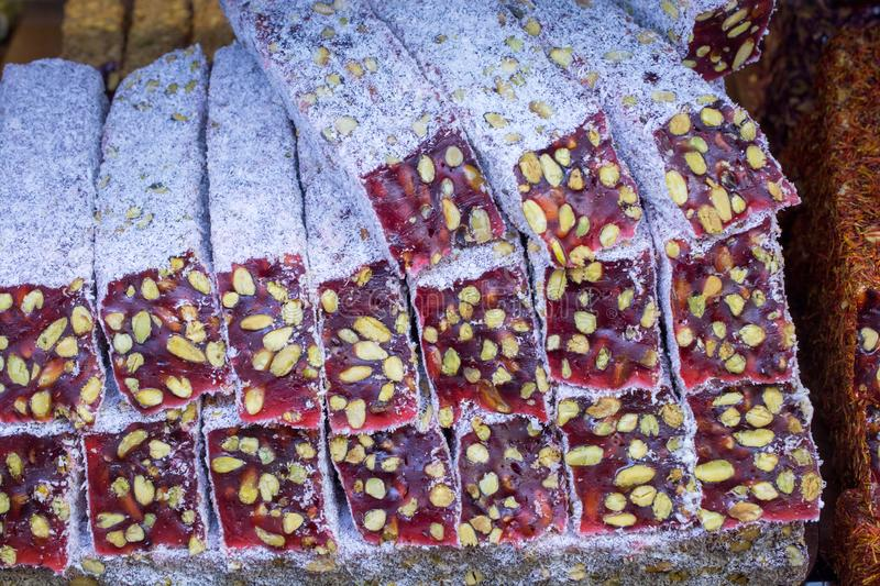 Traditional turkish delight  lokum candy. Load of traditional turkish delight lokum candy royalty free stock photo