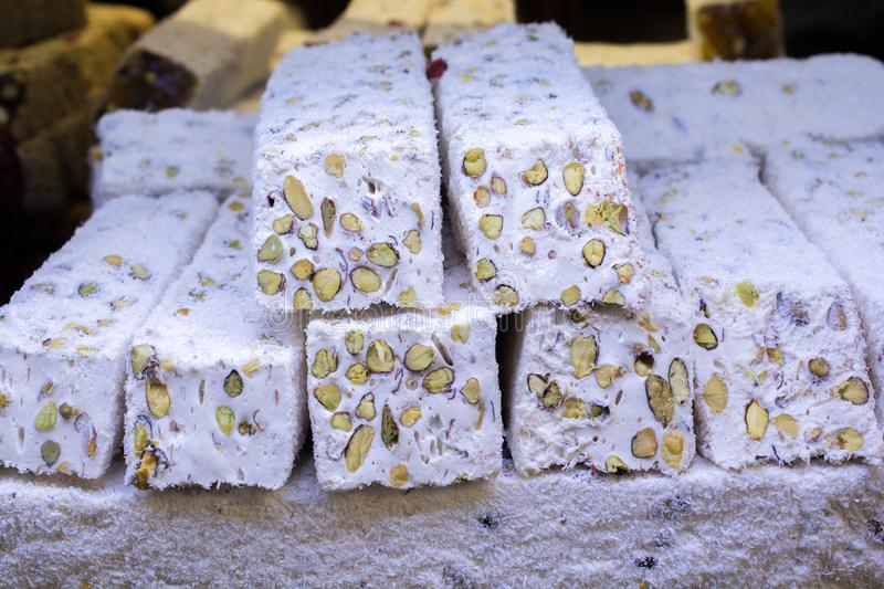 Traditional turkish delight lokum candy. Load of traditional turkish delight lokum candy royalty free stock photography
