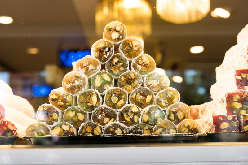 Traditional turkish delight lokum candy. Load of traditional turkish delight lokum candy stock image
