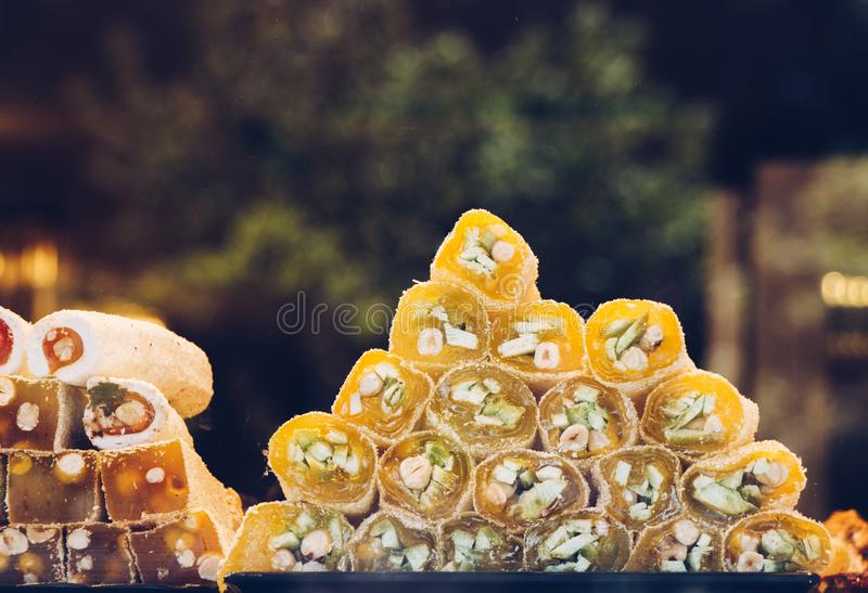 Traditional Turkish Delight,   soft candy. Traditional Turkish Delight,  Sugar coated soft candy stock photo
