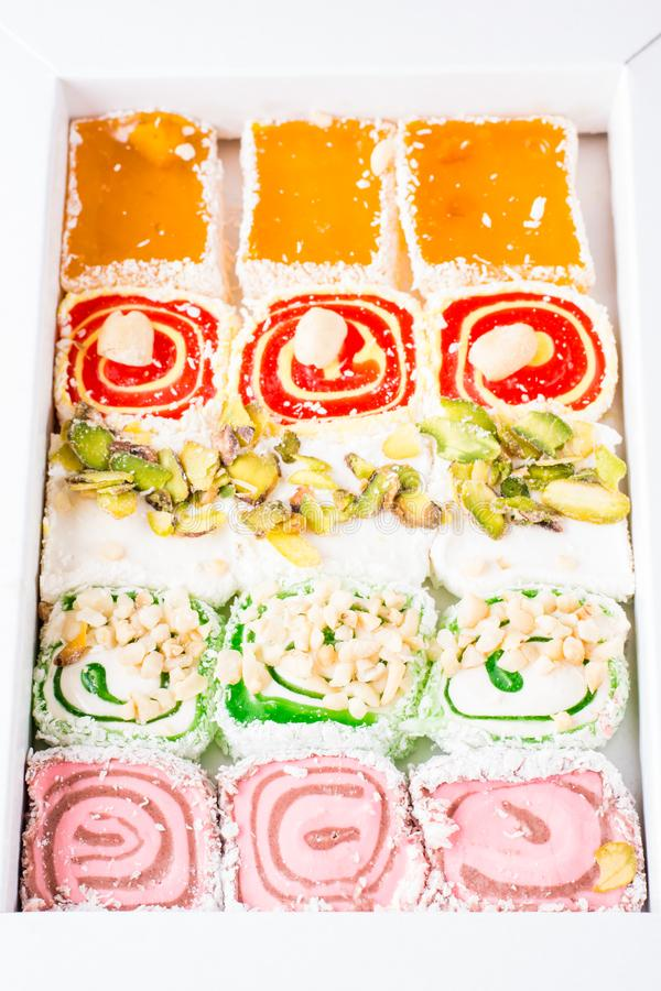 Traditional Turkish Delight in a box stock photos
