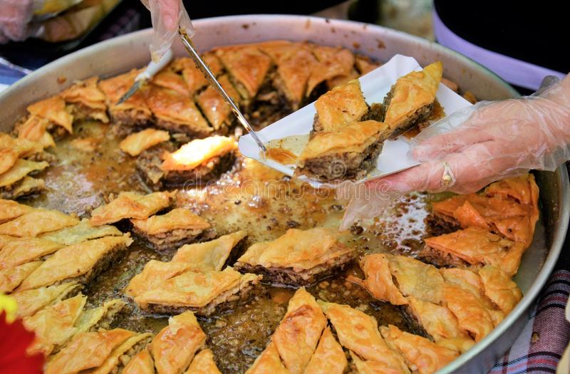 Traditional Turkish dessert Baklava. Image of a stock photos