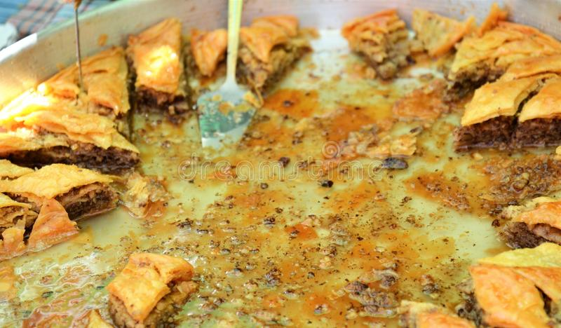 Traditional Turkish dessert Baklava. Image of a royalty free stock photography