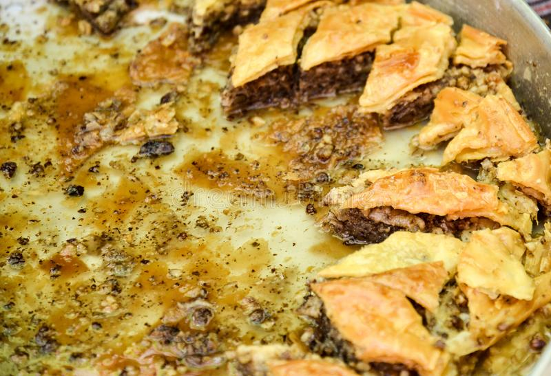 Traditional Turkish dessert Baklava. Image of a stock image