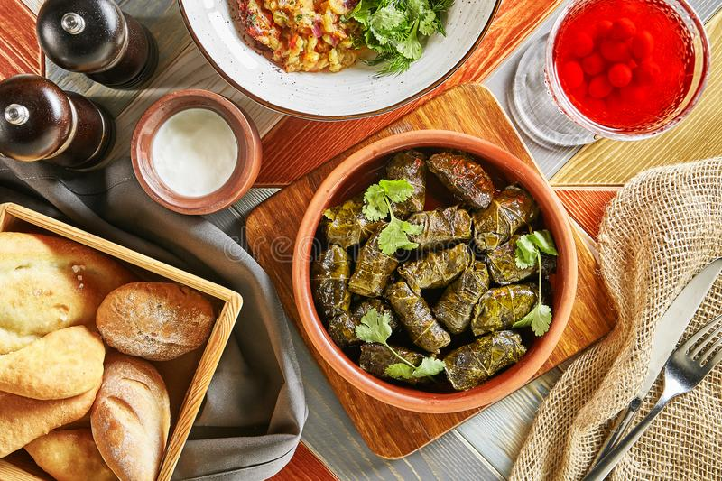 Traditional Turkish Dolma, Sarma or Dolmades Top View royalty free stock images