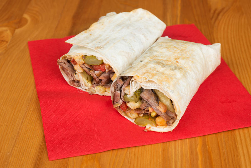 Traditional Turkish Durum, Wrap. Turkish Shawarma durum Traditional sish kebab wrap royalty free stock photo