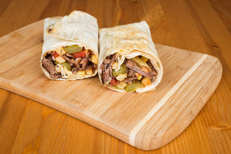 Traditional Turkish Durum, Wrap. Turkish Shawarma durum Traditional sish kebab wrap royalty free stock photography