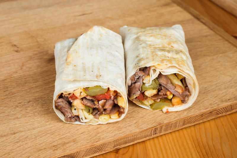 Traditional Turkish Durum, Wrap. Turkish Shawarma durum Traditional sish kebab wrap stock photos