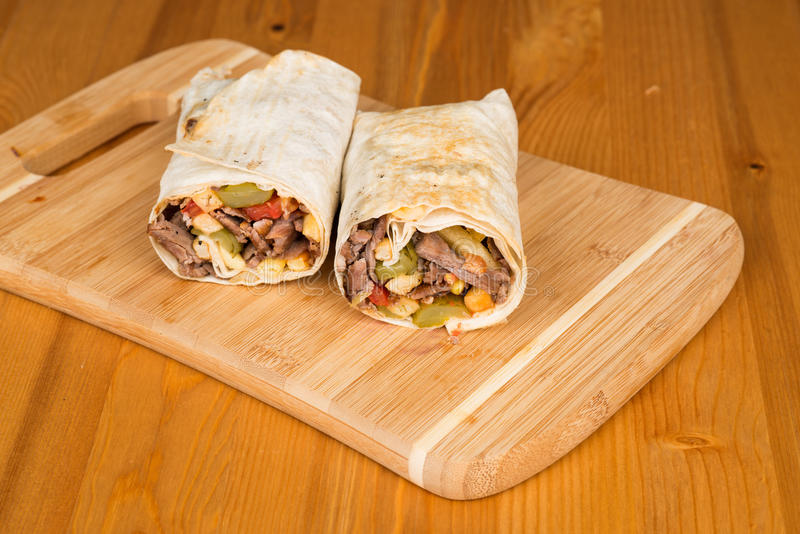Traditional Turkish Durum, Wrap. Turkish Shawarma durum Traditional sish kebab wrap stock images