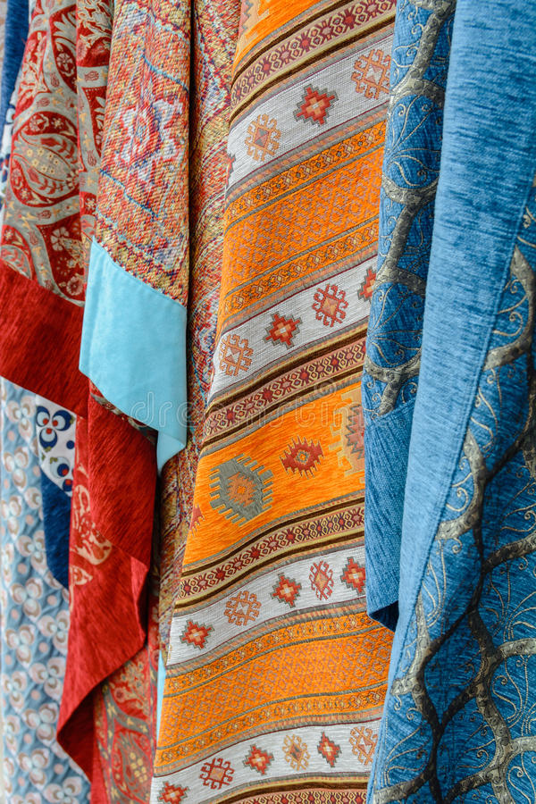 Traditional Turkish fabric hanging vertically. stock photography