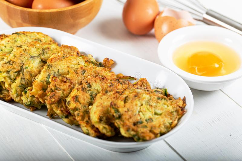 Traditional Turkish/Greek meal; Zucchini mucver stock image