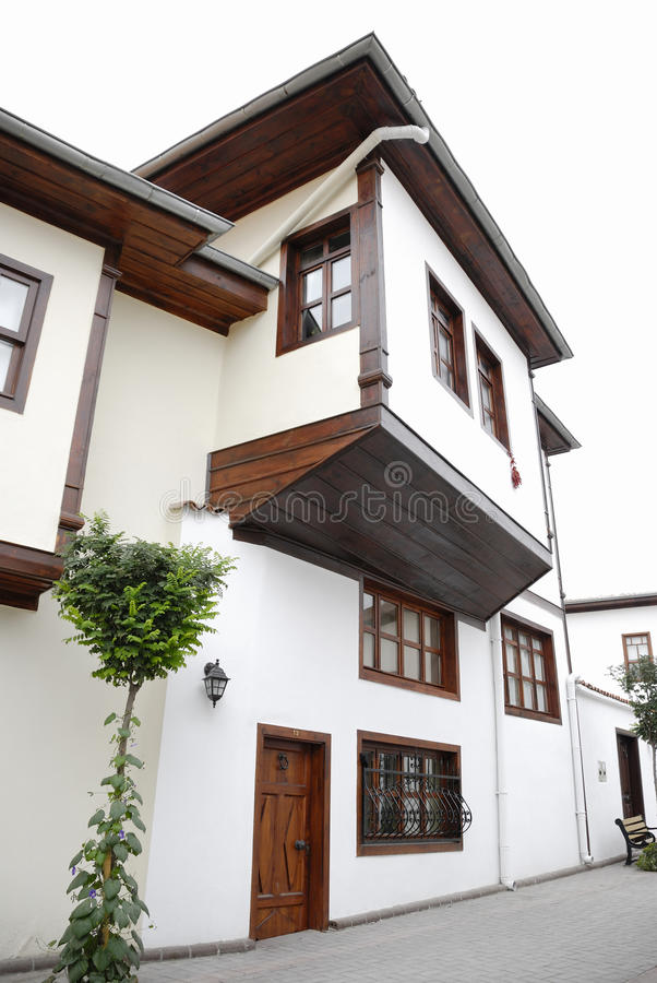 Traditional Turkish House. Old Turkish house exterior of traditional style in central Anatolia (Hamamonu, Ankara/Turkey royalty free stock images