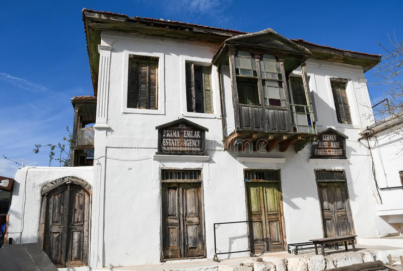 Traditional Turkish house in Kas town, Turkey. royalty free stock image