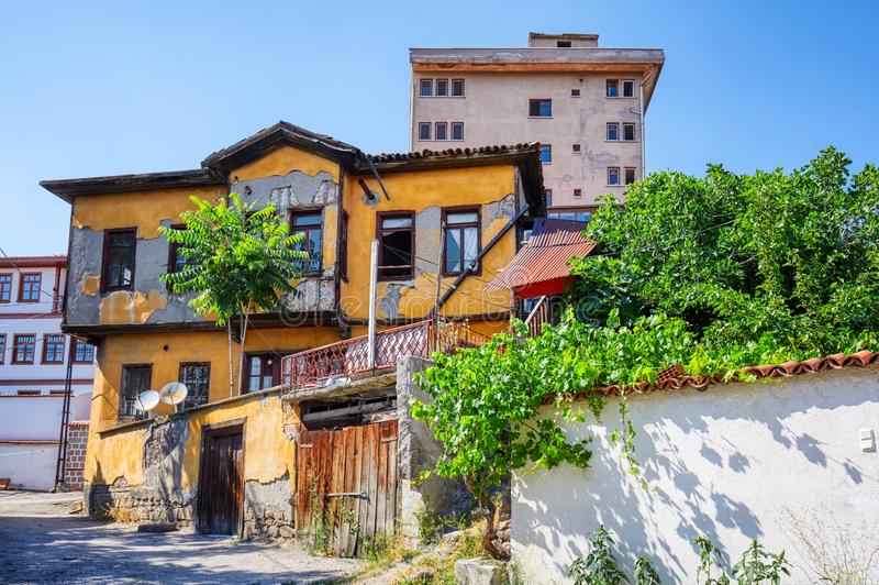 Traditional Turkish house in Hamamonu, Ankara, Turkey stock photo