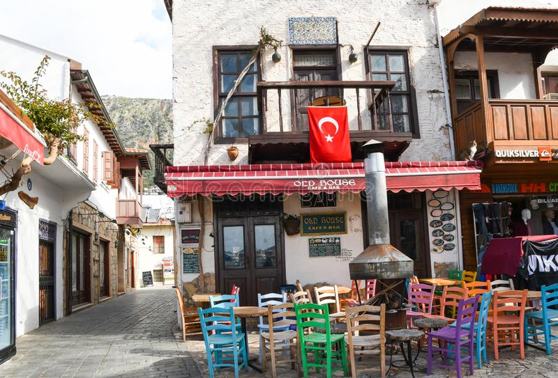 Traditional Turkish house in Kas town, Turkey. Traditional Turkish house with colorful balcony in Kas town, Turkey. Kas is a beautiful seaside town with royalty free stock images