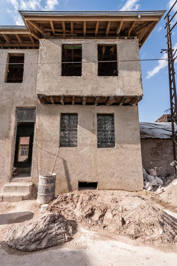 Traditional Turkish House Under Restoration and Renovation. Works in Eskisehir stock images