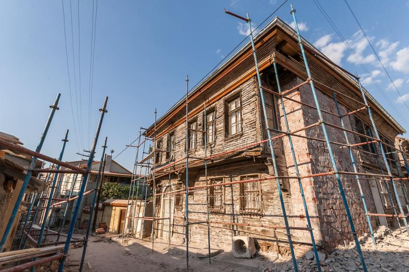 Traditional Turkish House Under Restoration and Renovation. Works in Eskisehir royalty free stock photos
