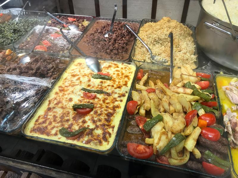 Traditional Turkish / Karadeniz Homemade Foods Served in Big Trays at Restaurant For Sale. stock photo