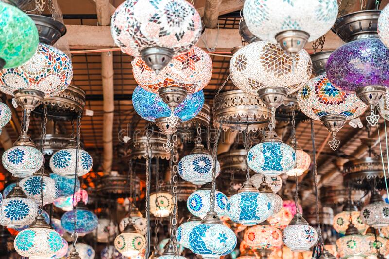 Traditional Turkish Lamps for sale at the Surajkund Crafts Mela in Faridabad, India.  royalty free stock photos
