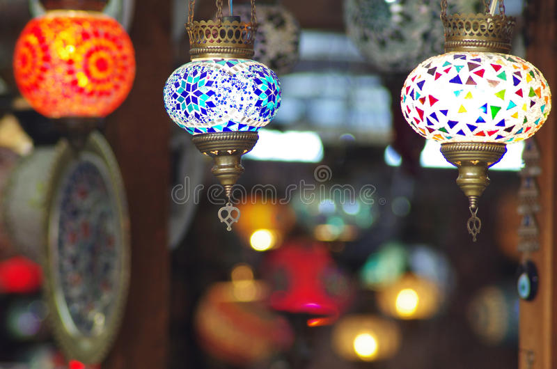 Traditional turkish mosaic lanterns. Hanging from the ceiling stock photography