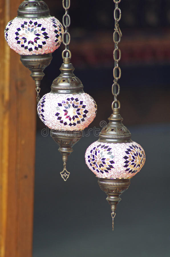 Traditional turkish mosaic lanterns. Hanging from the ceiling royalty free stock photography