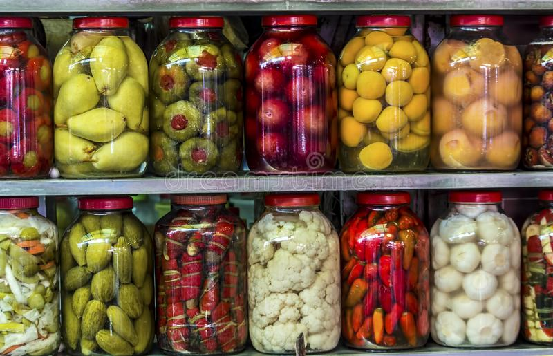 Traditional Turkish pickles of various fruits and vegetables stock photography