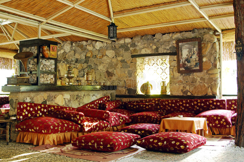 Traditional turkish restaurant interior stock photo