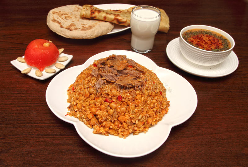 Traditional turkish rice with minced meat stock images